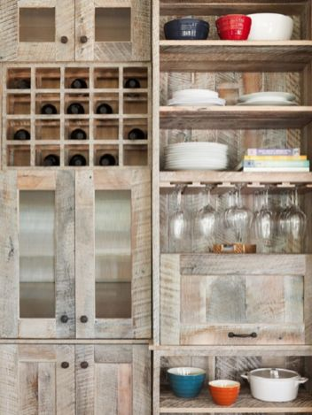 Wood and glass kitchen cabinets 39