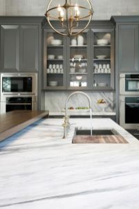 Wood and glass kitchen cabinets 44