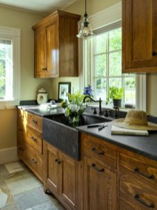 Wood and glass kitchen cabinets 46