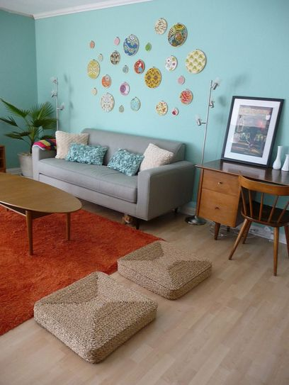 Adorable burnt orange and teal living room ideas 04