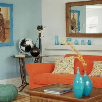 Adorable burnt orange and teal living room ideas 09