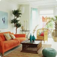Adorable burnt orange and teal living room ideas 23