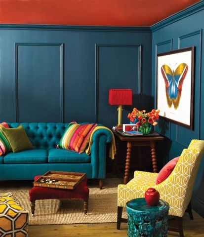 Adorable burnt orange and teal living room ideas 46