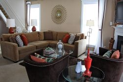 Adorable burnt orange and teal living room ideas 49