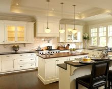 Amazing cream and dark wood kitchens ideas 07