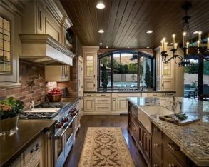 Amazing cream and dark wood kitchens ideas 14