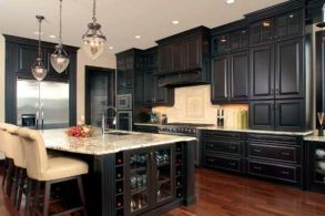 Amazing cream and dark wood kitchens ideas 15