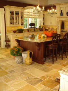 Amazing cream and dark wood kitchens ideas 29