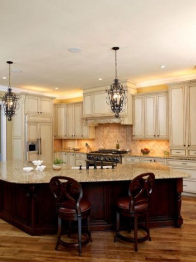Amazing cream and dark wood kitchens ideas 33