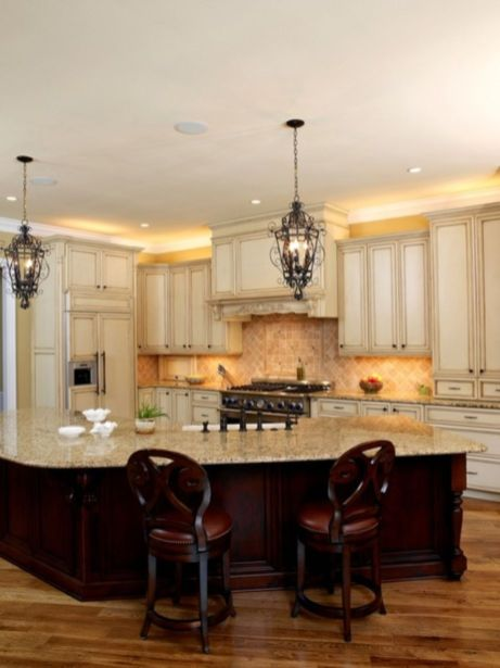 Amazing cream and dark wood kitchens ideas 33