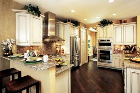 Amazing cream and dark wood kitchens ideas 49