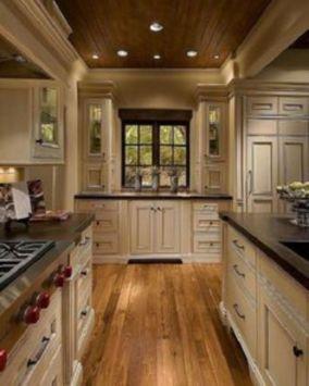 Amazing cream and dark wood kitchens ideas 60