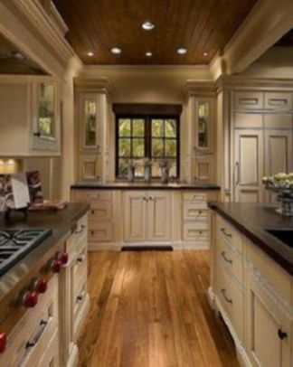 Amazing cream and dark wood kitchens ideas 60