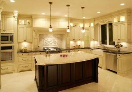 Amazing cream and dark wood kitchens ideas 64
