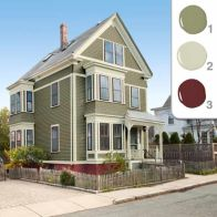 Exterior paint color ideas with red brick 24