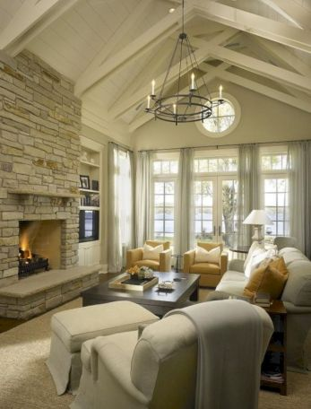 Furniture placement ideas with fireplace 27