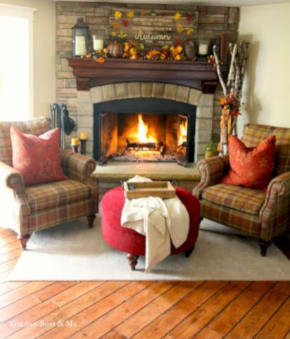 Furniture placement ideas with fireplace 34