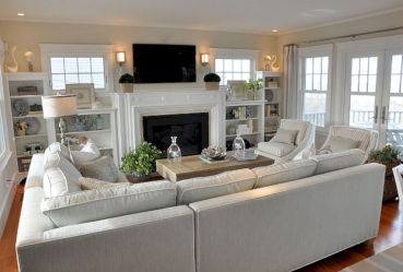 Furniture placement ideas with fireplace 47