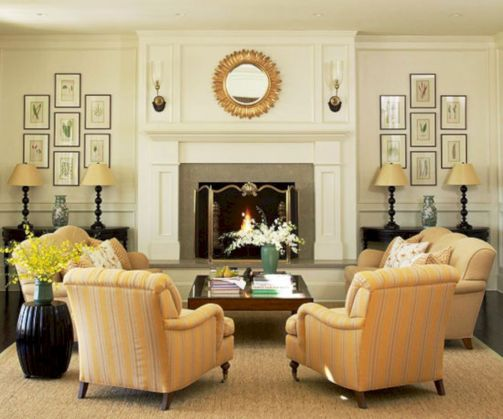 Furniture placement ideas with fireplace 50