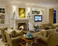 Furniture placement ideas with fireplace 52