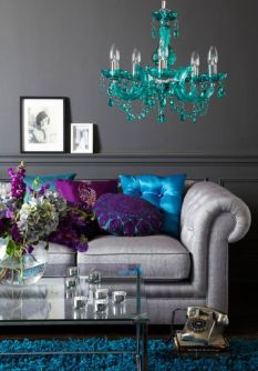 Incredible teal and silver living room design ideas 12
