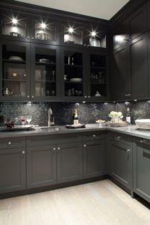 Inspiring black quartz kitchen countertops ideas 16
