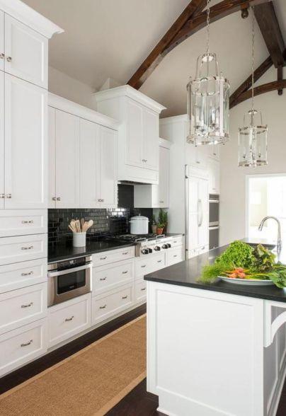 Inspiring black quartz kitchen countertops ideas 29