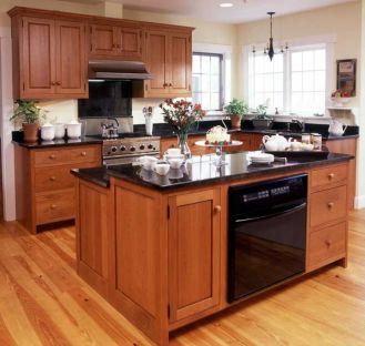Inspiring black quartz kitchen countertops ideas 40