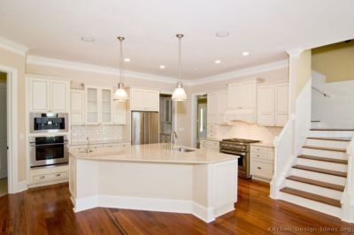 Modern cream painted kitchen cabinets ideas 05