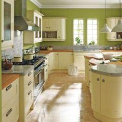 Modern cream painted kitchen cabinets ideas 07