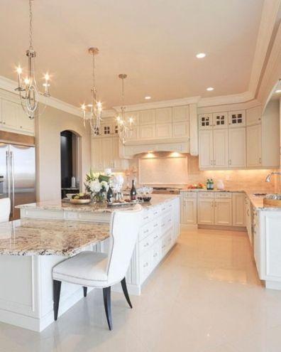 Modern cream painted kitchen cabinets ideas 16