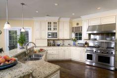 Modern cream painted kitchen cabinets ideas 18
