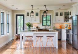 Modern cream painted kitchen cabinets ideas 21