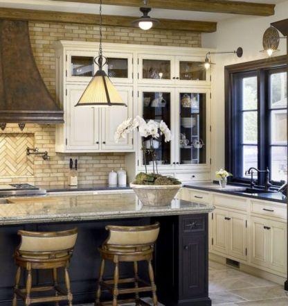 Modern cream painted kitchen cabinets ideas 41
