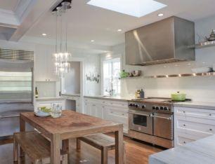 Modern cream painted kitchen cabinets ideas 42