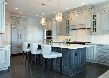 Modern cream painted kitchen cabinets ideas 46