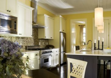 Modern cream painted kitchen cabinets ideas 47