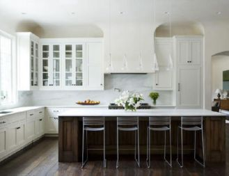 Modern cream painted kitchen cabinets ideas 58