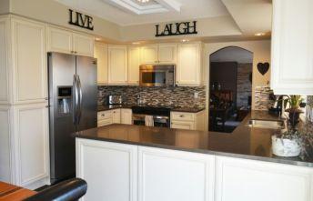 Modern cream painted kitchen cabinets ideas 59