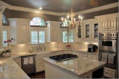 Modern cream painted kitchen cabinets ideas 67