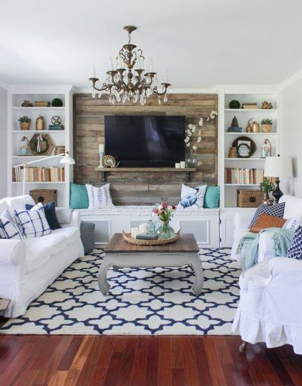 Simple living room design ideas with tv 43
