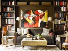 Stunning red brown and black living room design ideas 69
