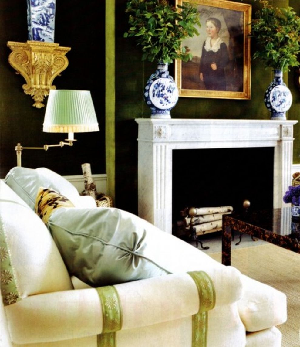 Stylish Dark Green Walls In Living Room Design Ideas 02 Part 94
