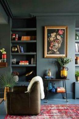 Stylish dark green walls in living room design ideas 16