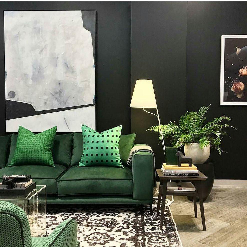 Stylish Dark Green Walls In Living Room Design Ideas 24