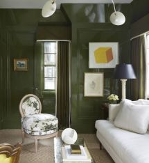 Stylish dark green walls in living room design ideas 30