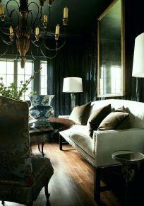 Stylish dark green walls in living room design ideas 37