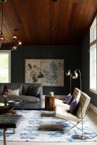 Stylish dark green walls in living room design ideas 43