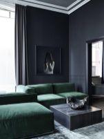 Stylish dark green walls in living room design ideas 55
