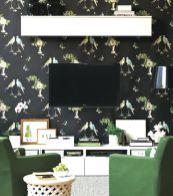 Stylish dark green walls in living room design ideas 69